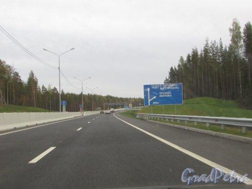 трасса А-121 («Сортавала»). Поворот на Орехово и Иваново. Фото 26 сентября 2015 года.
