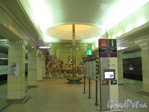 Cтанция метро «Спортивная». Общий вид подземного вестибюля (нижний уровень). Фото март 2014 г.