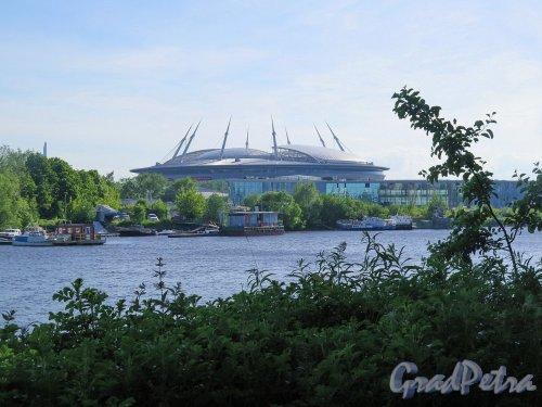 Футбольная аллея, д. 1. Стадион Санкт-Петербург. Общий вид стадиона со стрелки Елагина острова. фото июль 2017 г.