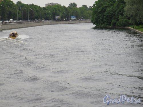 Река Большая Невка. Вид излучины реки в районе ЦПКиО. фото июнь 2015 г.