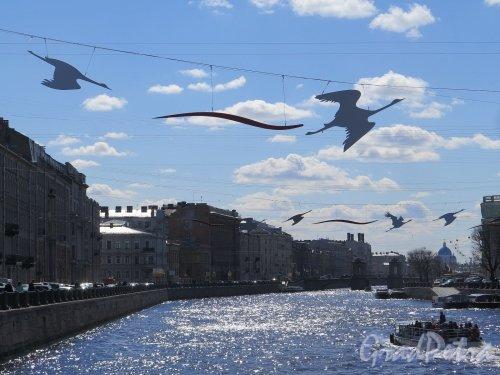 Река Фонтанка в оформлении к Празднику Победы. фото май 2017 г.