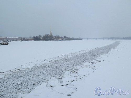 Река Большая Невка. Зимний фарватер для прохода на Б. Невке. фото февраль 2018 г.