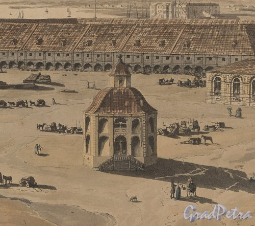 Павильон Готторпского глобуса. Фрагмент «Panoramic view of St. Petersburg, dedicated by permission to his Imperial Majesty Alexander 1st. by his much obliged humble servant J.A. Atkinson». 1805-1807 годы.