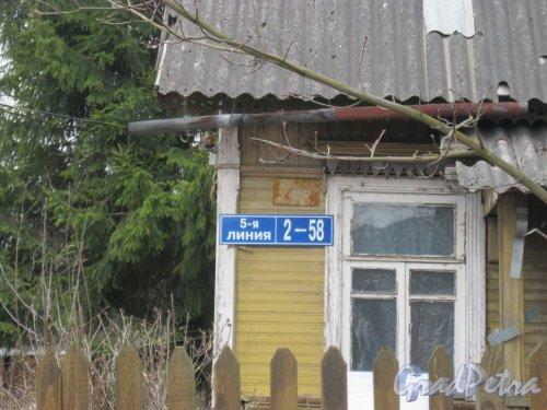 Лен. обл., Гатчинский р-н, пос. Сусанино, Церковная сторона, 5-я линия, дом 58. Табличка с номером дома. Фото 6 апреля 2014 года.