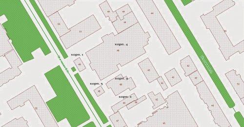 18-я линия, В.О., дом 49 (участок с кадастровым номером 78:06:0002077:33). Расположение корпусов завода на участке.