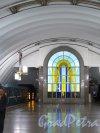 Станция метро «Лиговский проспект», Подземный вестибюль. Витраж на торцевой стене. фото июнь 2015 г