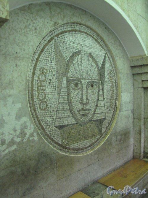 Станция метро «Крестовский остров». Мозаичное панно «Каменный остров» в подземном вестибюле. Фото март 2014 г.