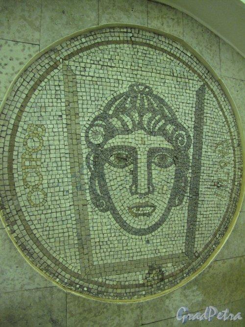 Станция метро «Крестовский остров». Мозаичное панно «Елагин остров» в подземном вестибюле. Фото март 2014 г.