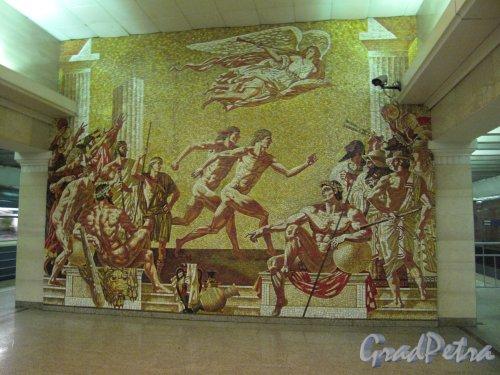 Cтанция метро «Спортивная». Мозаичное панно на торцевой стенке. Фото март 2014 г.