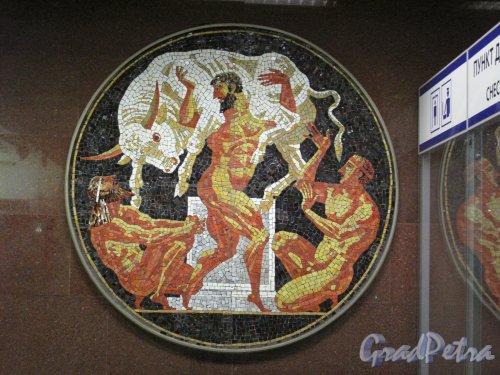 Cтанция метро «Спортивная». Фрагмент мозаичного панно подземного вестибюля. Фото апрель 2014 г.