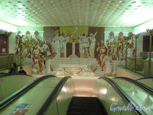 Cтанция метро «Спортивная». Мозаичного панно наземного вестибюля. Фото апрель 2014 г.