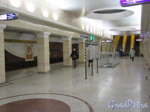 Cтанция метро «Спортивная-1». Вид второго нижнего посадочного зала. Фото февраль 2018 г.