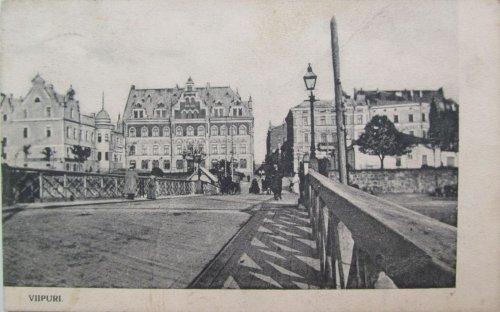 город Выборг. Вид с Абовского (ныне Крепостного) моста в сторону площади Старой Ратуши. Фото начала XX века.