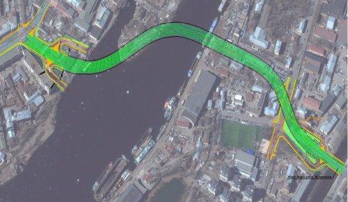 Трасса будущего моста через остров Серный.