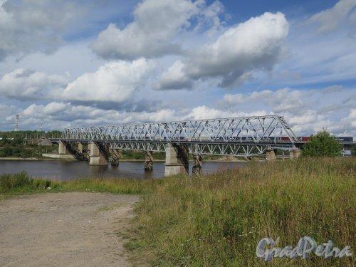 г. Волхов. Железнодорожный мост через р. Волхов. Фото с берега реки август 2014 г.