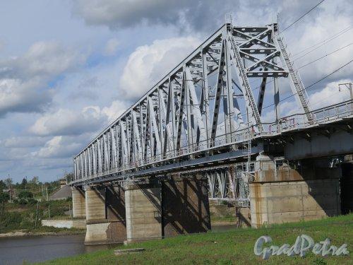 г. Волхов. Железнодорожный мост через р. Волхов. Вид на конструкции моста. Фото август 2014 г