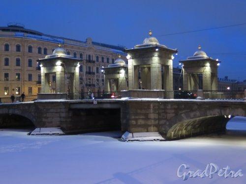 Мост Ломоносова в вечернем освещении. фото февраль 2016 г.