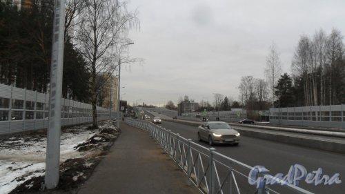 оклонногорский путепровод. Вид с Выборгского района Санкт-Петербурга. Фото 1 января 2018 года.