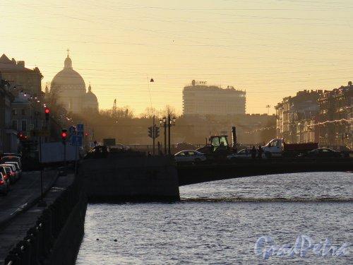 Лештуков мост. Вид опоры моста с набережной Фонтанки. фото ноябрь 2017 г.