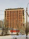 Ушаковская набережная, дом 3. Строительство корпусажК «RIVERSIDE» со стороны набережной Черной речки. Фото 11 февраля 2015 года.