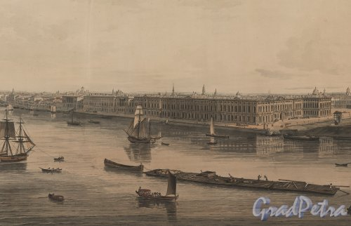 Перспектива Дворцовой набережной в начале XIX века. Фрагмент «Panoramic view of St. Petersburg, dedicated by permission to his Imperial Majesty Alexander 1st. by his much obliged humble servant J.A. Atkinson». 1805-1807 годы.