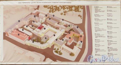 План расположения корпусов «Ленполиграфмаш» (набережная реки Карповки, дом 5, проспект Медиков, дом 3). Фото 4 октября 2014 года.
