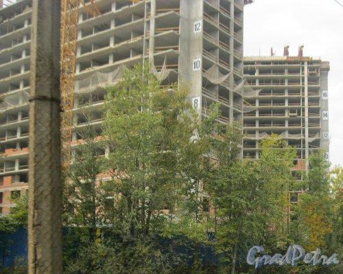 Ушаковская наб., дом 3. Фрагмент строящегося жилого комплекса «RIVERSIDE». 19 сентября 2014 г.