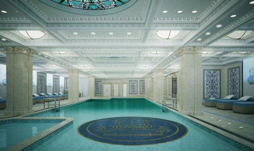 Интерьер бассейна в клубном доме «Hovard Palace» (набережная реки Фонтанки, дом 76).