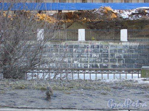 набережная Обводного канала. Восстановленная кладка набережной у Мукомольного комбината после строительства автомобильной дороги. Фото 20 января 2017 года.