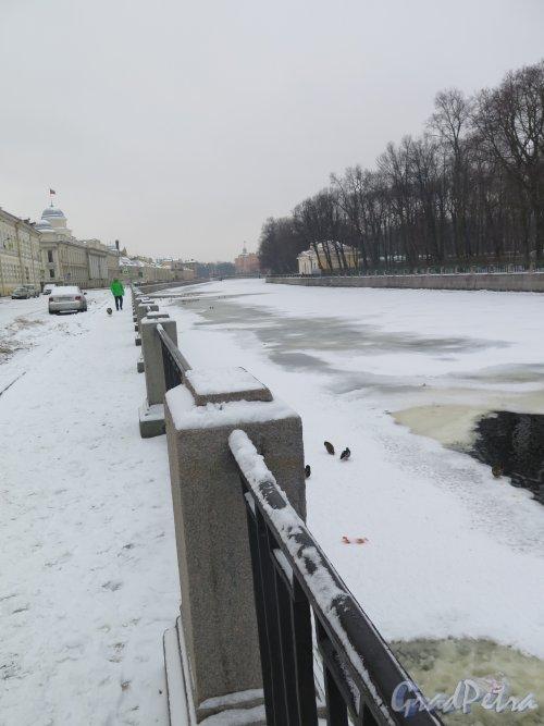 Наб. реки Фонтанки. Вид Прачешного моста к Михайловскому Замку зимой. фото февраль 2016 г.