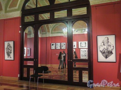 Миллионная ул., дом 5. Мраморный Дворец. Залы 3-го этажа. Выставка графика О.Ю. Яхнина. фото февраль 2016 г.