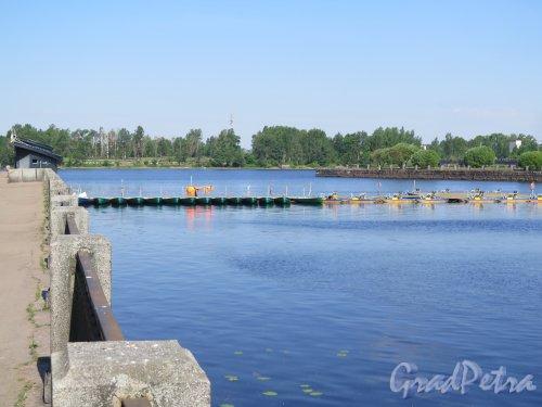 Наб. 40 лет Комсомола (Выборг), д. 3а. Лодочная станция. Общий вид пристани. фото июнь 2016 г.