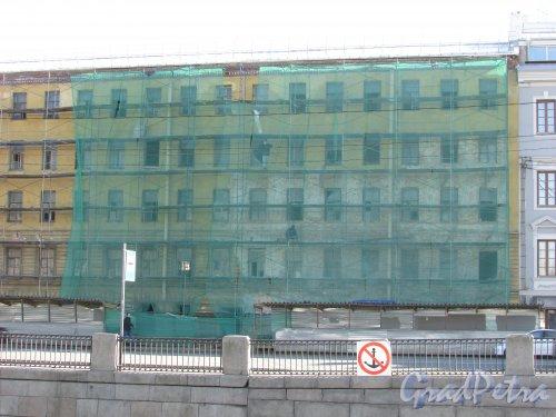 набережная Обводного канала, дом 128, литера А. Правая часть. Реставрация фасада. Фото 18 апреля 2019 г.