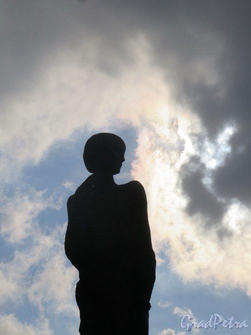 Памятник А. А. Ахматовой. Фигура памятника на фоне неба (контражур). фото апрель 2018 г.