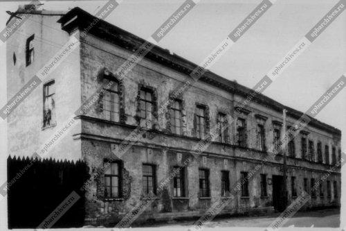 Вид фасада дома №14 на Синопской набережной.  Дата съёмки: 1960 г. Автор съёмки: Автор съемки не установлен