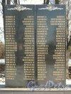 Мемориал погибшим землякам в пос. Парголово на пересечении Выборгского шоссе и улицы Ломоносова. Левая вертикальная плита с именами погибших. Фото апрель 2012 г.