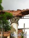 Лен. область, Ломоносовский район, пос. Ропша. Ропшинский дворец. Пилястра колонны центрального портика. Фото 26 июня 2014 года.