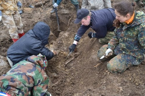 Поисковые работы отряда «Ингрия» в районе поселка Кондакопшино. Фото апрель 2014 г.