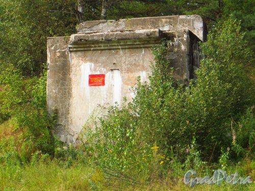Форт Красная Горка. Памятник истории «Артиллерийская батарея 10-дм (245 мм) орудий». Фото 9 августа 2014 года.