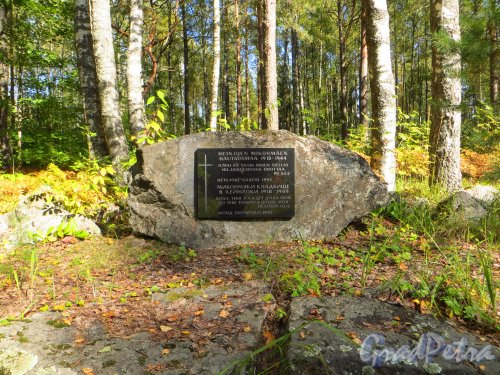 Ленинградская область, Выборгский район, поселок Вещёво. Памятный знак на месте кладбища в Хейнйоки. Фото 6 сентября 2014 года.