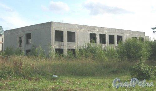 Лен. обл., Волосовский р-н, пос. Кикерино. Строящееся здание недалеко от шоссе Р-40. Фото 12 августа 2014 г.