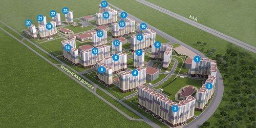 Общая планировка с номерами домов жилого комплекса  «Новая Охта».