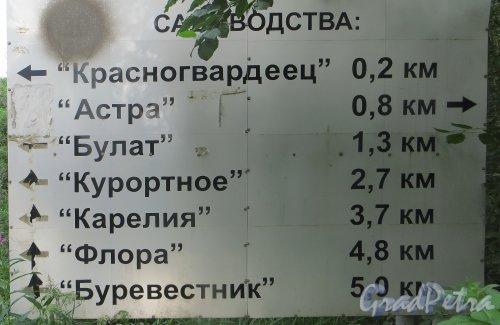 Ленинградская область. Выборгский район, садоводческий массив «Лейпясуо». Список садоводческих товариществ. Фото 20 июля 2015 года.