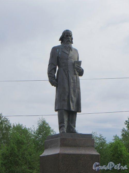 Лен. область, Ломоносовский р-н, пос. Лебяжье. Памятник М.Е. Салтыкову-Щедрину. Фото 10 июня 2015 года.