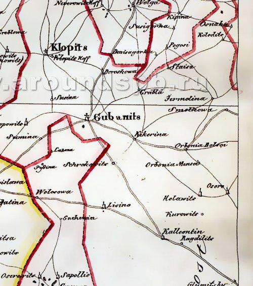 Деревни Orbonia Bolsoi и Orbonia Mensoi во Вздылицком погосте на Карте Ингерманландии: Ивангорода, Яма, Копорья, Нотеборга», по материалам 1676 года