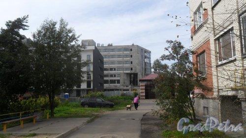 Всеволожск, улица Почтовая, дом 16. ЖК «Новая Швейцария». Вид жилого комплекса с Бибикоаской улицы. Фото 12 августа 2016 года.