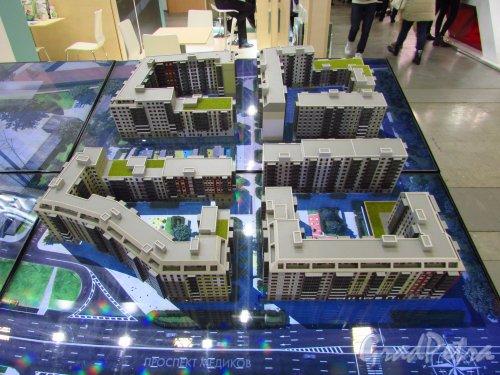 Макет жилого комплекса «Skandi Klubb» («Сканди Клуб»). Проектируемый вид со стороны проспекта Медиков. Фото 30 октября 2016 года.