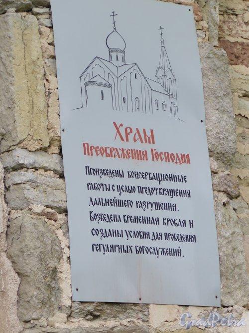 Копорская крепость, Собор Преображения Господня, Объявление на стене. фото июль 2015 г