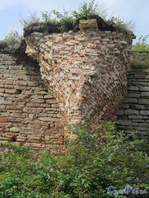 Шлиссельбург, г. Крепость Орешек. Фрагмент остатков стены. фото август 2015 г.