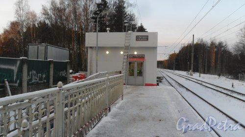 Всеволожск, микрорайон Бернгардовка, железнодорожная платформа Бернгардовка. Платформа 1. Помещение контроля входа и выхода пассажиров на платформу. Фото 9 января 2018 года.